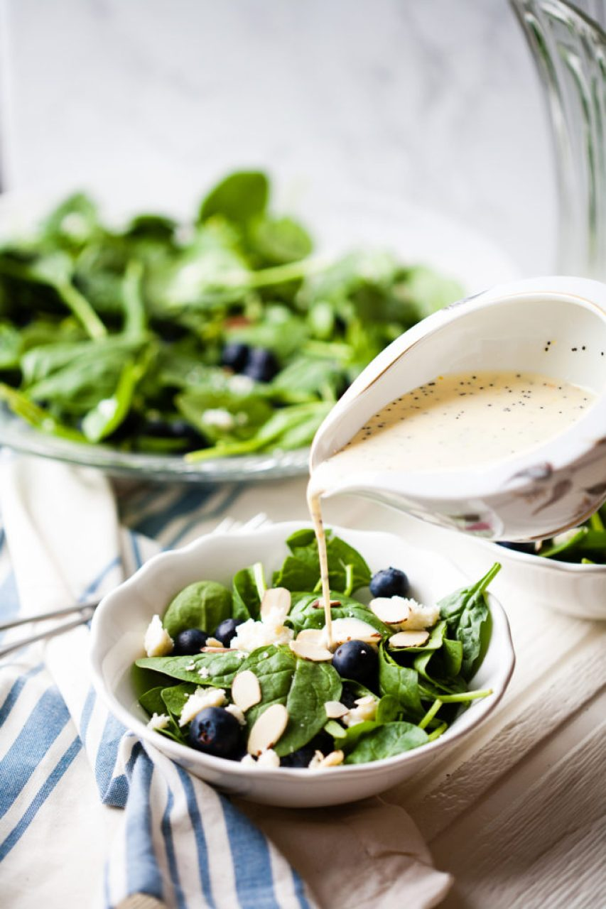 This elegant, super-food Spinach Blueberry Salad with Orange Poppy Seed Dressing is amazingly delicious and healthy.