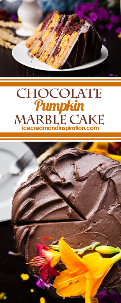 Chocolate Pumpkin Marble Cake. Rich chocolate cake is swirled with moist pumpkin cake and topped with chocolate cinnamon frosting for this showstopping dessert!