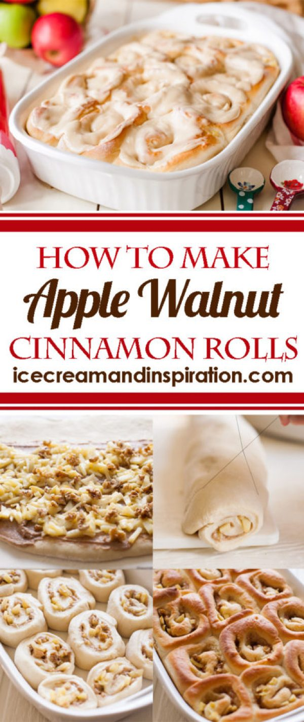 Learn how to make Apple Walnut Cinnamon Rolls! The perfect cinnamon roll for fall!