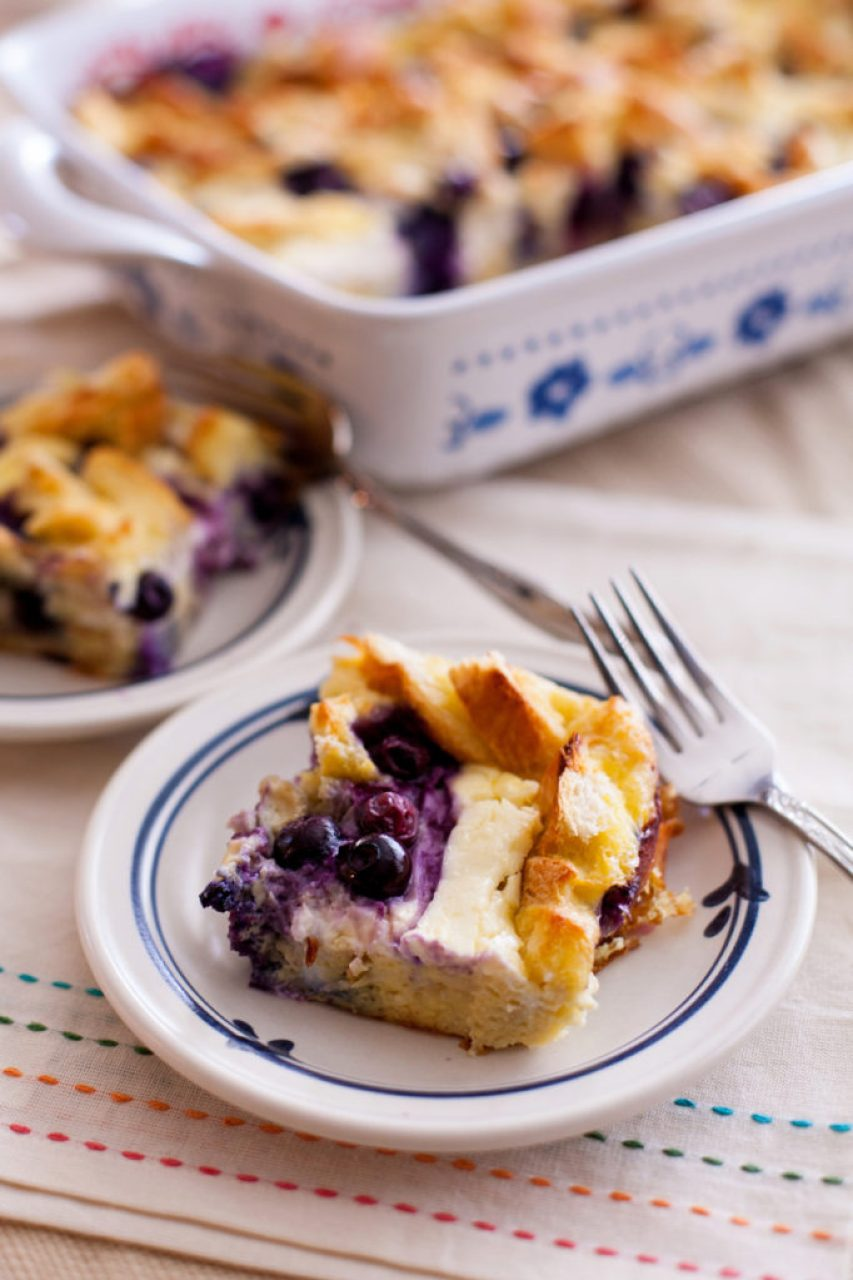This Overnight Blueberry Breakfast Bake with Maple Cream Syrup is a wonderful low-sugar breakfast! Full of protein and flavor, it's the perfect breakfast for any occasion!