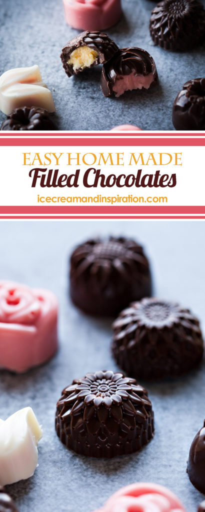 Make these easy, home made filled chocolates for Valentine's Day or your anniversary! Create your own, custom flavors and colors!