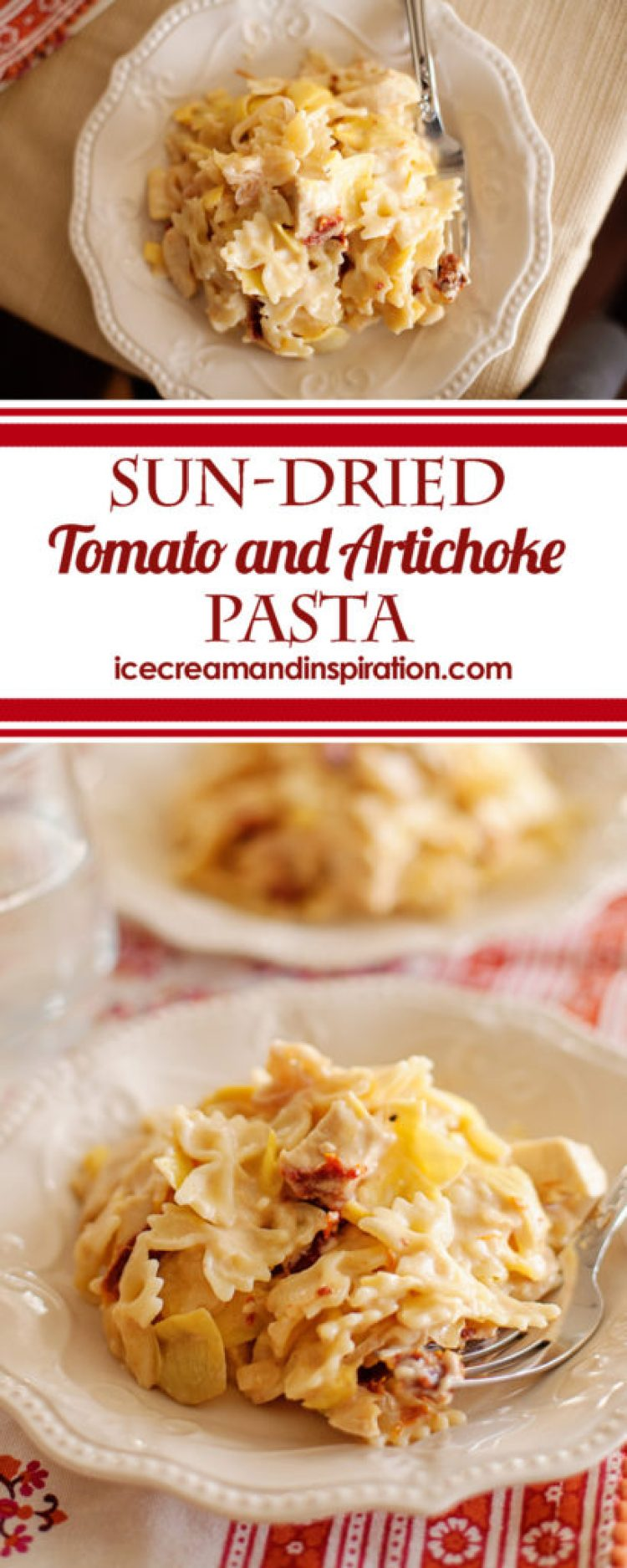 This Sun-Dried Tomato and Artichoke pasta can be ready in just 20 minutes! Enjoy the flavors of tangy sun-dried tomatoes with mellow artichoke hearts in a creamy Alfredo sauce.