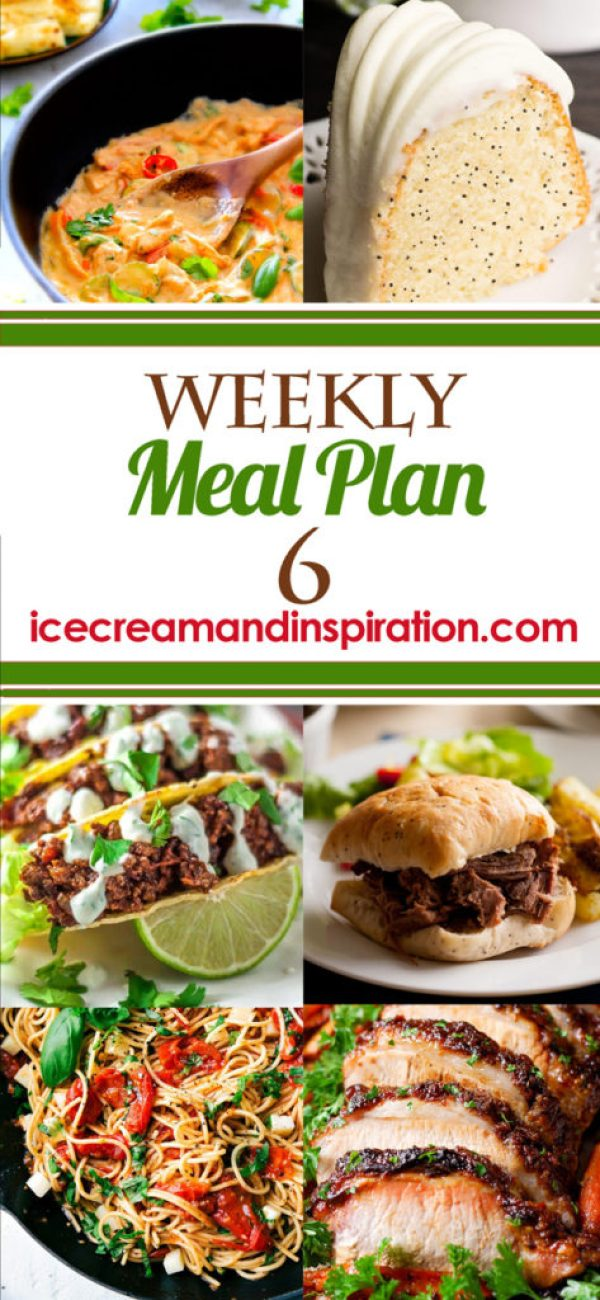 This week's meal plan has recipes for Creamy Italian Sausage Soup, Thai Peanut Chicken Wraps, Spicy Sweet Tacos, Brown Sugar Dijon Glazed Pork Loin, and more! Plus, recipes for bread and dessert.