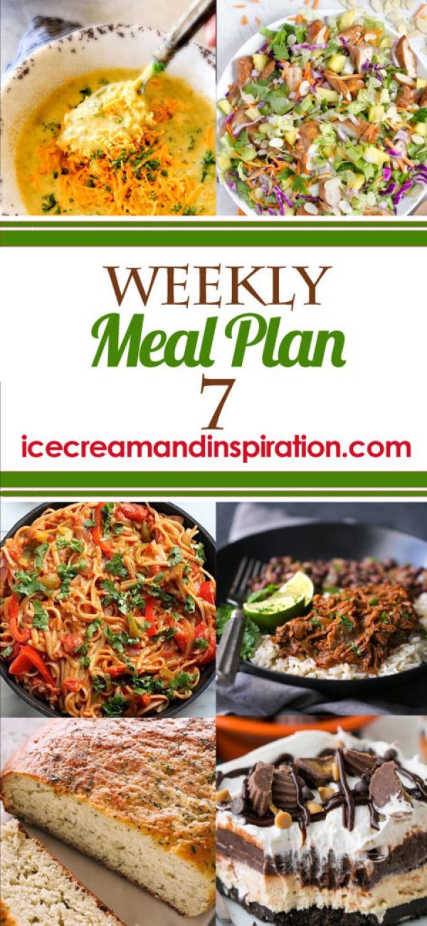 This week's meal plan has recipes for Broccoli Cheese Soup, Baked Sweet and Sour Chicken, Cuban Shredded Beef, Sheet Pan Pesto Ranch Chicken and Potatoes, and more! Plus, recipes for bread and dessert.
