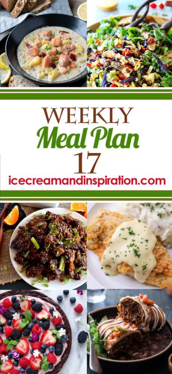 This week's meal plan has recipes for Salmon Chowder, Orange Ginger Garlic Beef, Saucy Greek Lemon Meatballs, Crispy Cheddar Chicken, and more! Plus, recipes for bread and dessert.