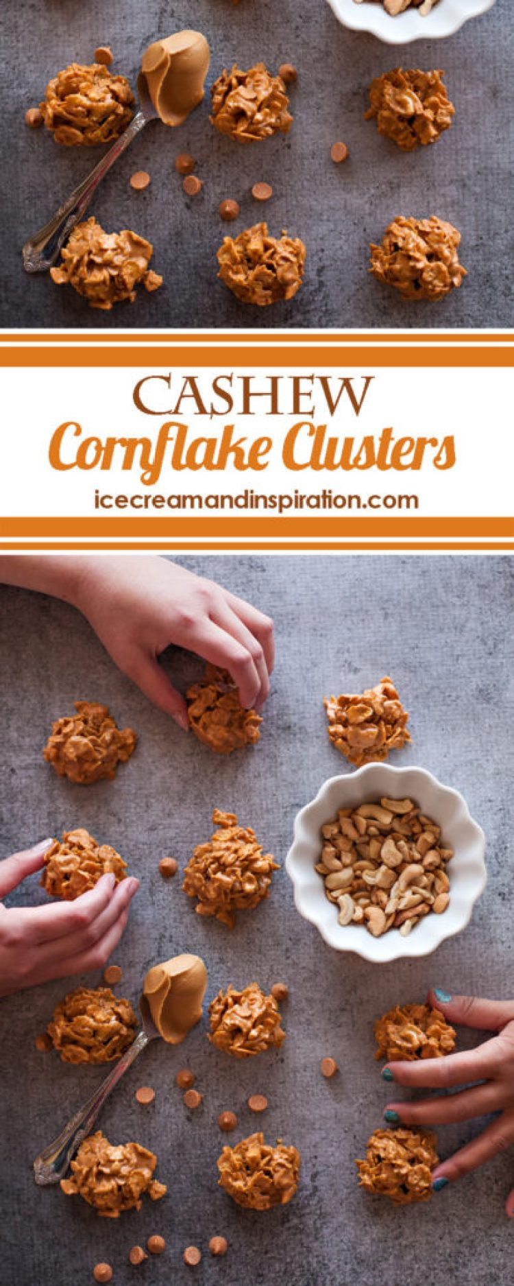 This no-bake cookie recipe for Cashew Cornflake Clusters will be your new favorite! With just butterscotch chips, cashews, peanut butter, and cornflakes, you'll have irresistible cookies in no time!