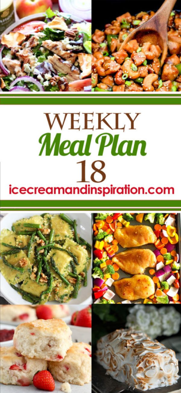 This week's meal plan has recipes for Slow Cooker Cashew Chicken, Ravioli with Sauteed Asparagus and Walnuts, Healthy One Pan Chicken Teriyaki and Veggies, and more! Plus, recipes for bread and dessert.