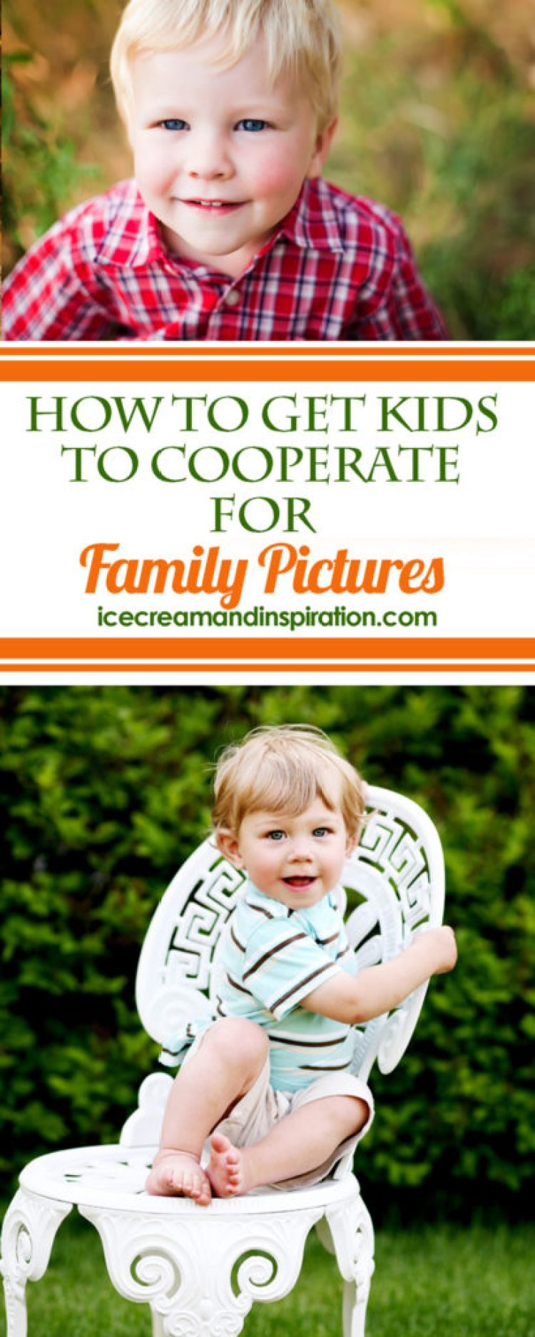 Getting kids to cooperate for pictures is like wrangling monkeys! Use these tips from a Certified Professional Photographer to make your next shoot a success!