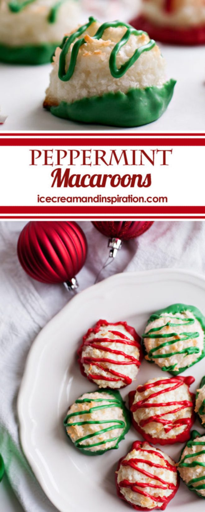 Make these super easy Peppermint Macaroons to take to your next Christmas party or cookie exchange! Made with only six simple ingredients, you can whip these up in no time! Dip them in festive candy melts or chocolate for a truly special treat! (Are gluten-free and dairy-free--unless you dip them in chocolate!)