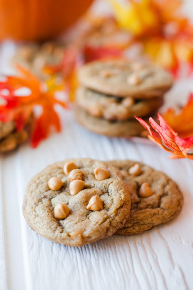 Chewy Pumpkin Spice Cookies with Butterscotch Chips. Like chocolate chip cookies for fall!