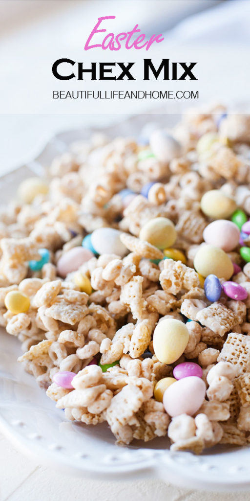 If you're looking for Easter candy recipes with the most popular Easter candy, you are in luck! This Easter Chex Mix is made with the super popular Easter M&Ms and Cadbury Mini Eggs. No bake, incredibly easy to make, and completely addictive! (You've been warned!)