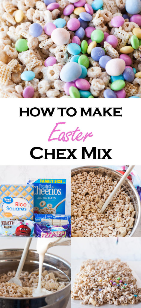 Make this super easy Easter Chex Mix with the most popular Easter Candy! M&Ms and Cadbury Mini Eggs! No bake and great to make with kids!
