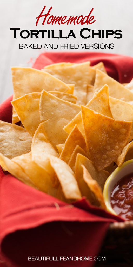 Easily make homemade fried tortilla chips, or baked tortilla chips! Your choice! Only three ingredients to make the best tortilla chips you've ever had! #tortillachips, #mexicanfood