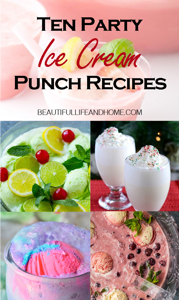 Ten Party Ice Cream Punch Recipes. Get your punch with ice cream here! Ten frosty and delicious punch recipes, including easy sherbet punches like rainbow, orange, and lime. I've also included recipes using vanilla ice cream, and even cotton candy ice cream for Unicorn Punch! #icecreampunch,