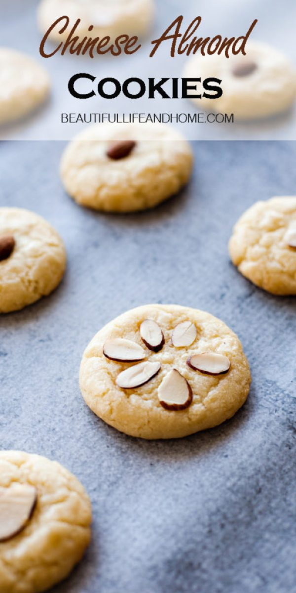 These Chinese Almond Cookies are the PERFECT dessert for any Chinese meal! They're kind of like a cross between a shortbread cookie and a sugar cookie flavored with almond extract and topped with either whole or slivered almonds.