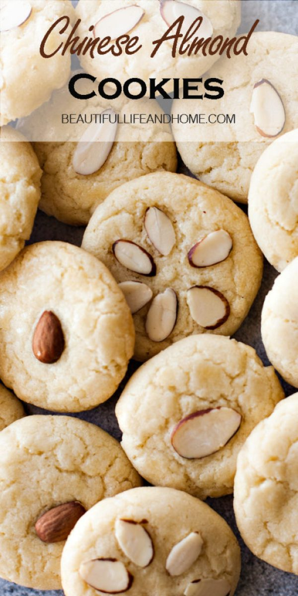 Traditional Chinese Almond Cookies made with almond extract and topped with real almonds!