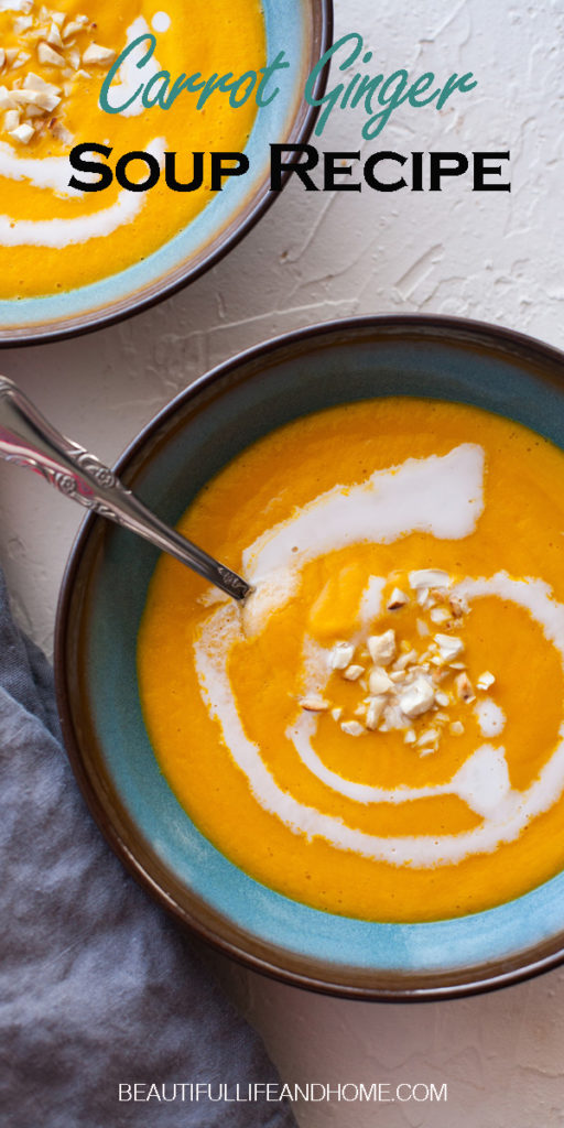 Carrot Ginger Soup is the perfect cold-weather soup! Filled with vitamins and flavor, this soup can be made with coconut milk for a vegan and dairy-free version.