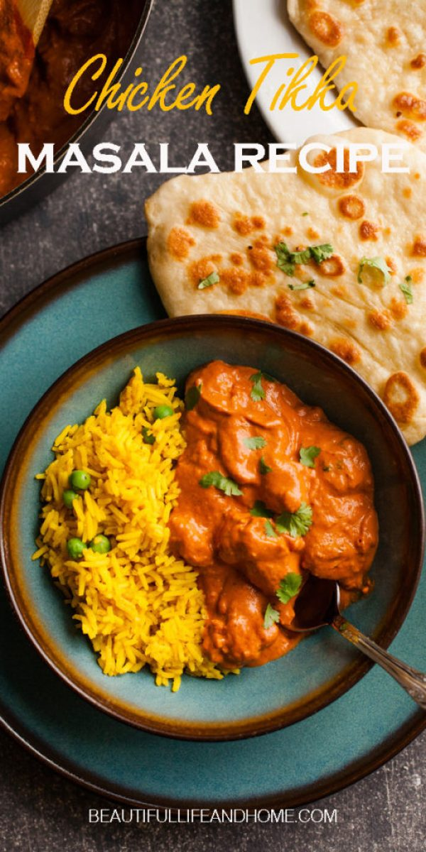 This Easy Chicken Tikka Masala recipe is essential for your all your Indian food cravings! Serve with garlic naan bread and Indian rice with peas for the perfect meal!