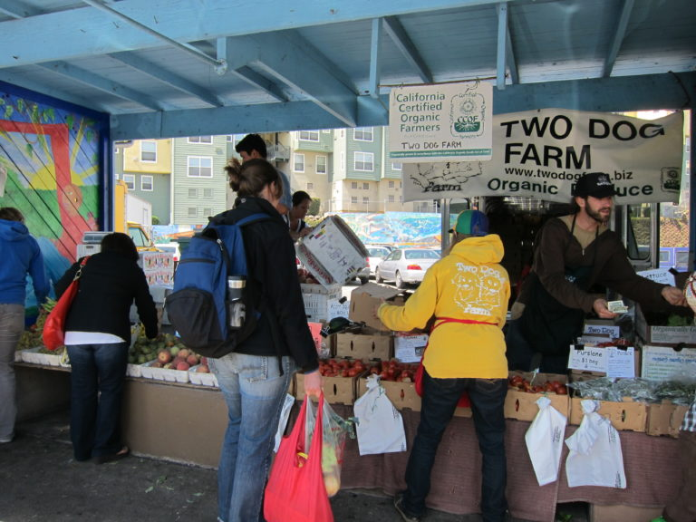 Buying produce at the farmers market