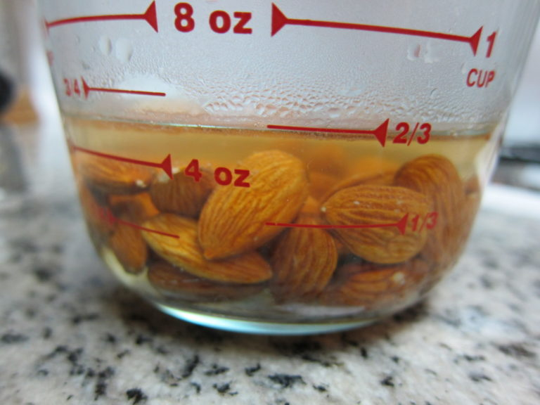 Blanching almonds