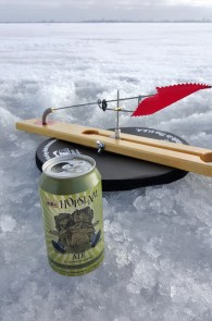 Ice fishing tip up with Hopslam