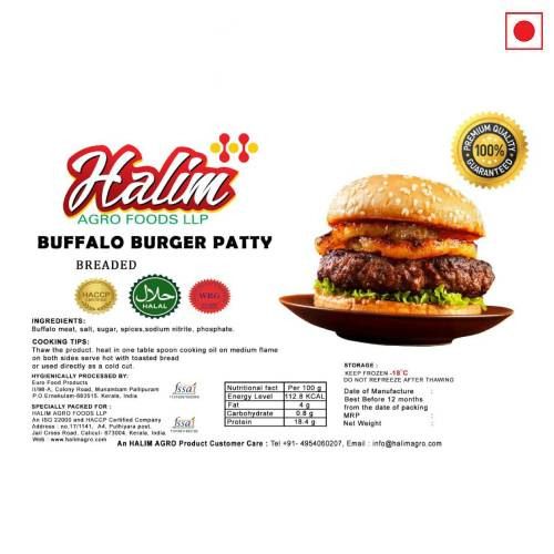 HALIM BUFFALO BURGER PATTY BREADED 500GM