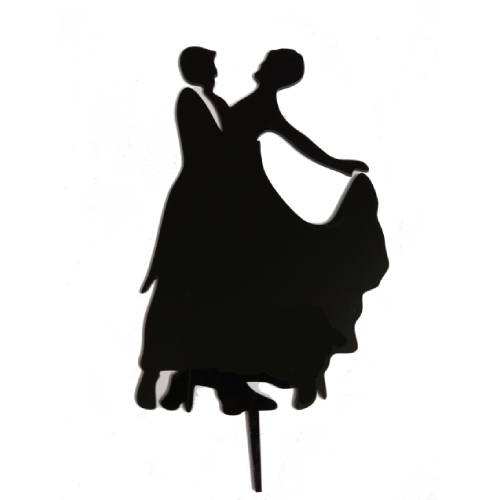 FANCY CAKE TOPPER BLACK- COUPLE DESIGN