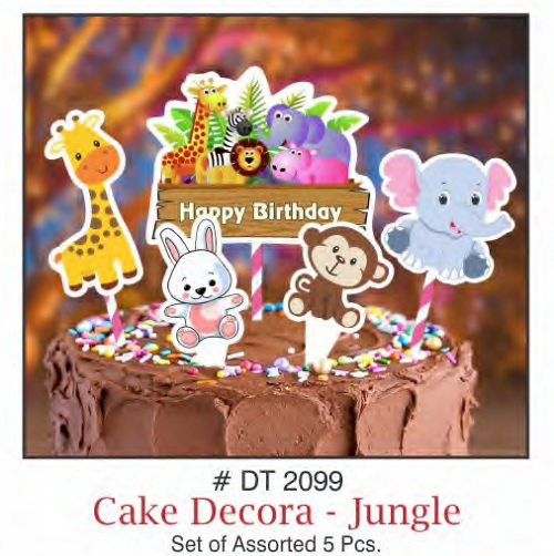 CAKE DECORA JUNGLE THEME SET OF 5 PIECE