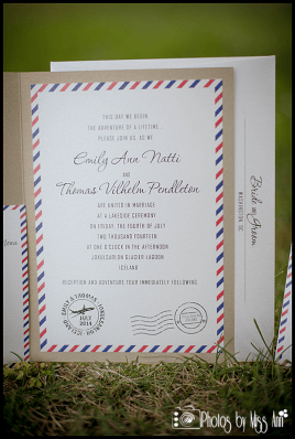 Detailed Wedding Invitations Airmail Wedding Invite Iceland Wedding