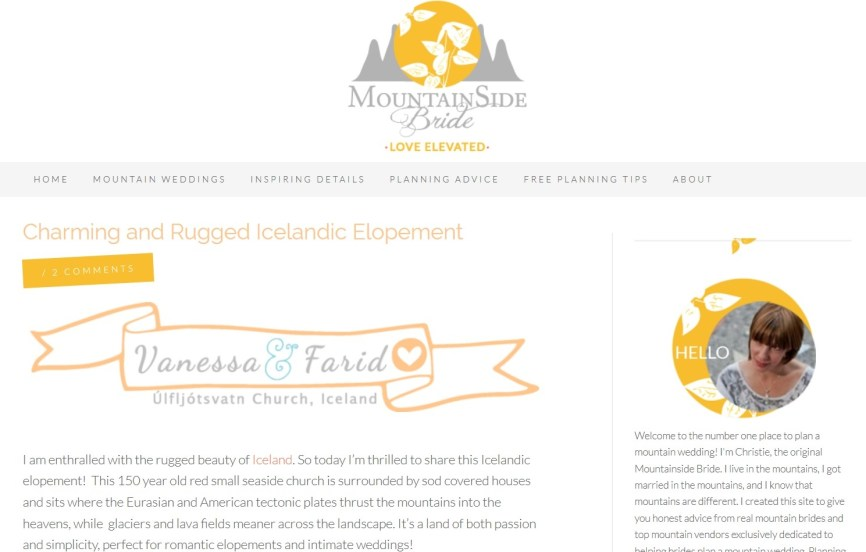 Iceland Wedding Photographer and Planner Published on Mountainside Bride