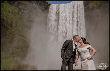 Wedding at Skogafoss Waterfall Iceland Wedding Kiss