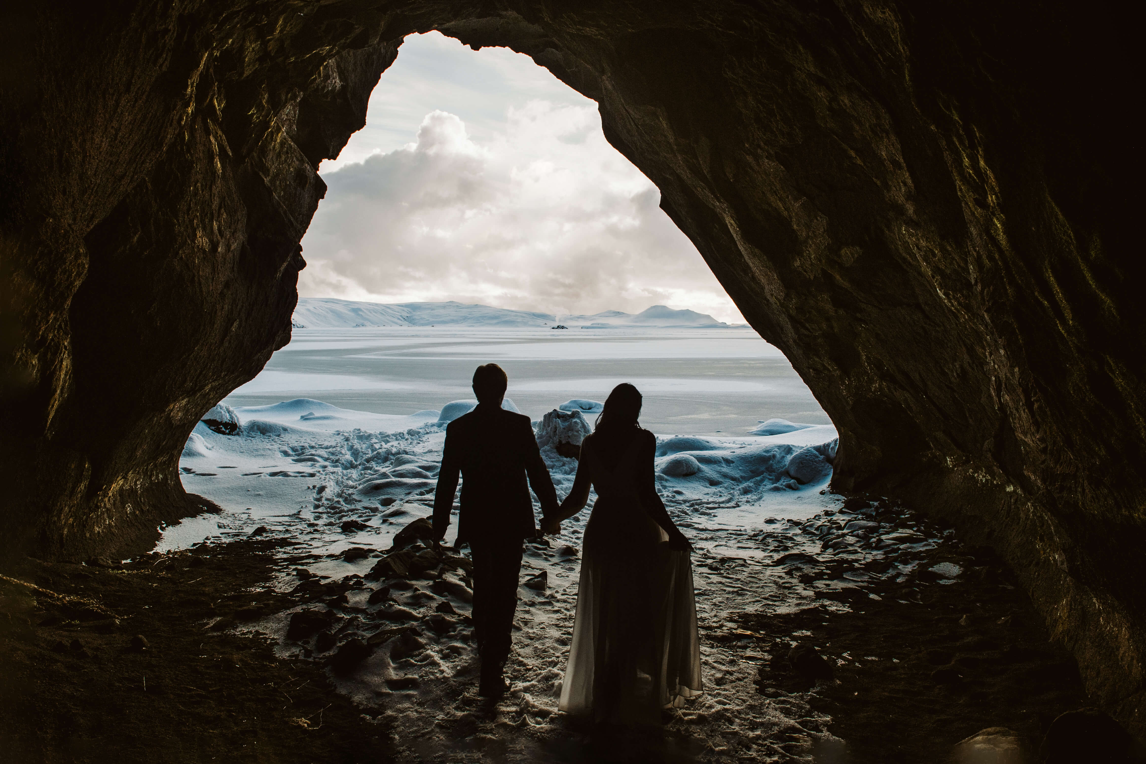 Icelandic Words and Couple in a Cave