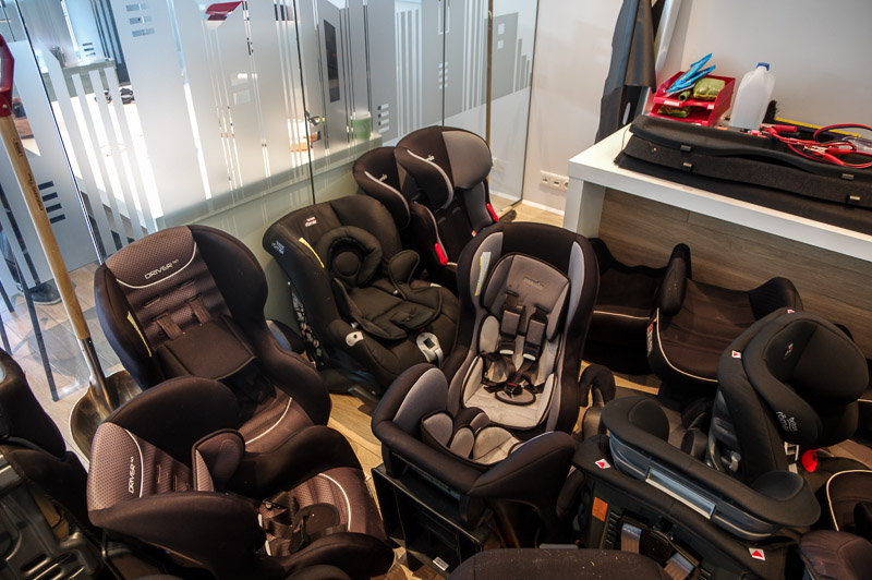 The car seat room at one of the car rental agencies.