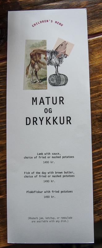 matur og drykkur childrens menu