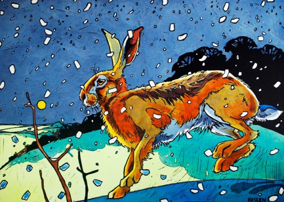 Winter Show Winter-Hare-11-Linocut-and-watercolour-by-Andrew-Haslen