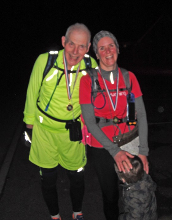 John and Micky at the end of the marathon walk