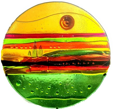 Tuscan Sun, by Gay Hutchings Fused glass
