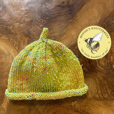 Raindrops on Moss Handmade Knitted Baby Hat from Mopsie's Knitterbees