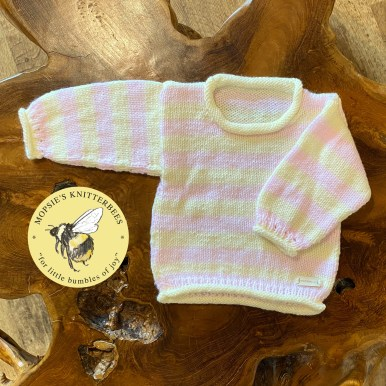 Strawberry Cream Handmade Knitted Baby Jumper from Mopsie's Knitterbees
