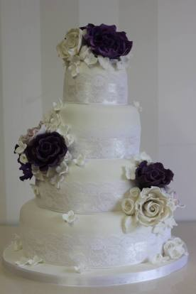 Classic single colour with white 4 Tier Wedding Cake