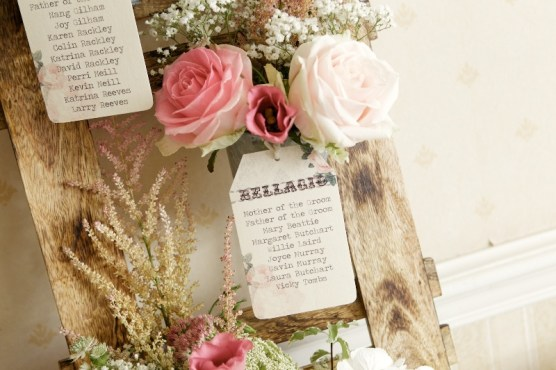 Close Up of Floral Vintage Wedding Table Plan Flower Monkey