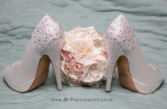 Crystal Shoes and Silk Bouquet