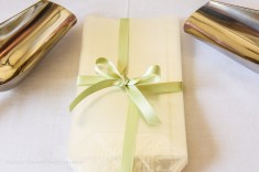 Champagne and green favour box