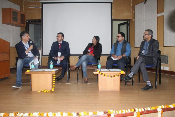 Sumit Puri, Abhinav Singhal, Dr. Shikha Suman, Ashutosh Pastor and Sharad Kumar on panel discussion on Business models of successful IoMT in India and challenges at IC InnovatorCLUB Meeting at IIT Delhi