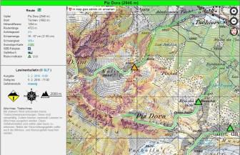 Beispiel Piz Dora bei mässiger Lawinengefahr. Die gesamte Route ist grün markiert und wird somit als geringes Risiko eingestuft.