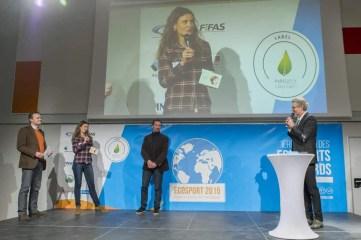 Hervé Clerbout (Sympatex), Sylvie Mangin (Sympatex), Bernard Crépel (Président du Flocon à la Vague), Denis Brogniart (Sportjournalist und TV-Moderator)
