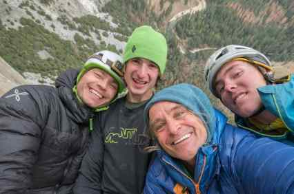 Adam Ondra on his Dawn Wall Push. da Boys. l-r Pavel, Adam, Heinz and Christian