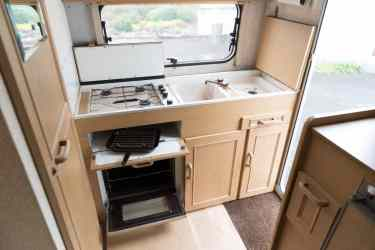 Kitchen area inside a caravan
