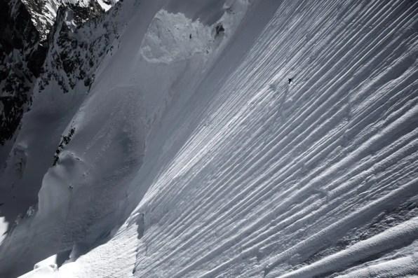 Mammut Pro Team Athlet Jeremie Heitz in der Steilwand des Obergabelhorn (Wallis, CH).