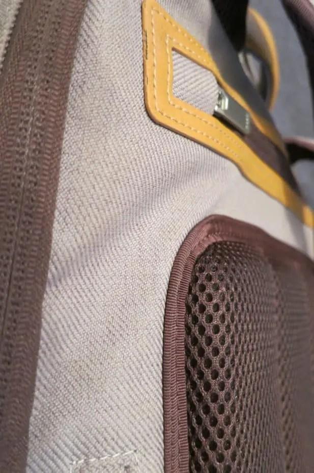 Detailaufnahmen Airmesh-Rückenpolster und wasserresistenter Stoff